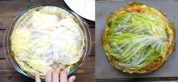 flipping cabbage lasagna