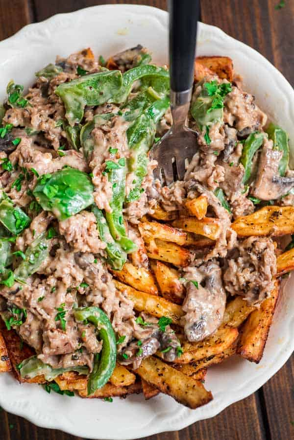 Tasty and filling, this Philly Cheese Steak Fries is a crowd pleaser!