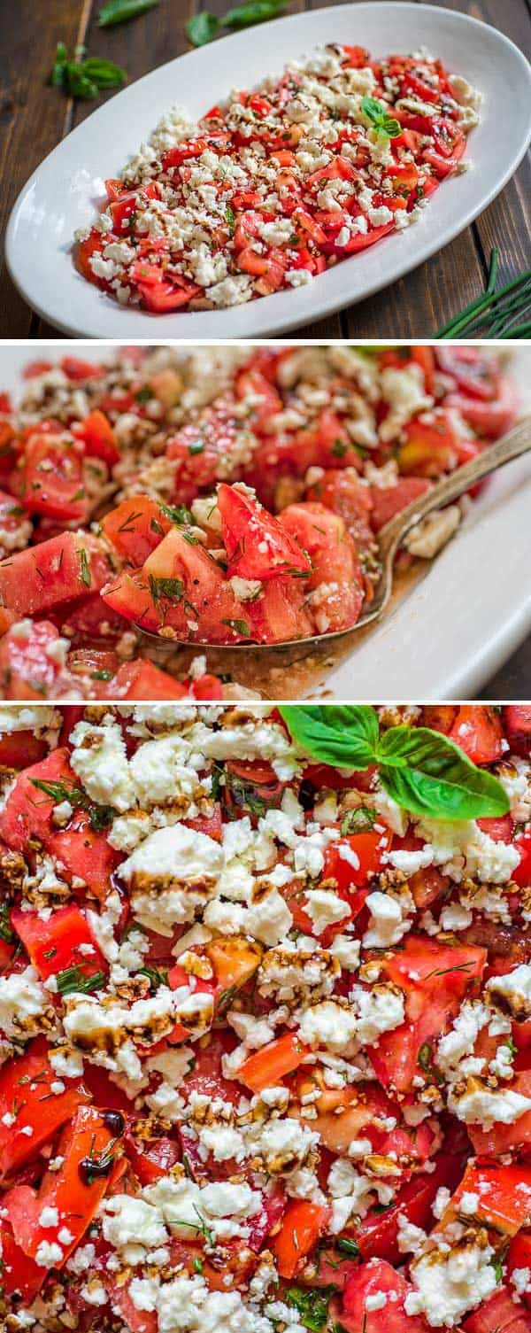 This simpleTomato Feta Saladis one of the best, easiest salads you'll make! Fresh herbs, succulent tomatoes, creamy feta cheese and a touch of balsamic reduction. #tomatoes #feta #mediterranean