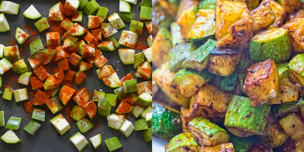mixing zucchini with spices and baking