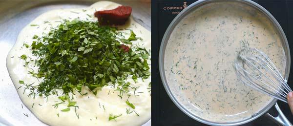 preparing the sauce for zucchini