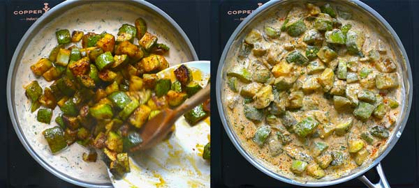 mixing zucchini with cream sauce