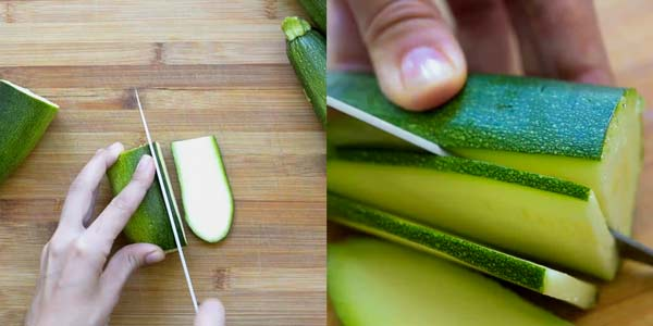 cutting zucchini into thin strips