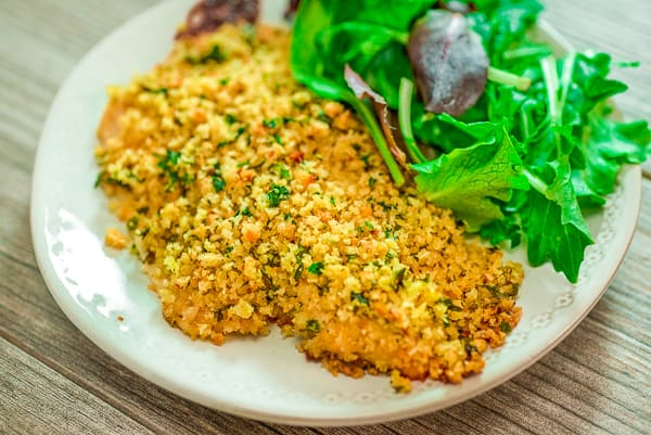 Baked Breaded Tilapia on a plate