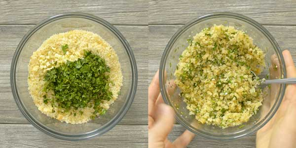 making a breadcrumb mixture for baked tilapia