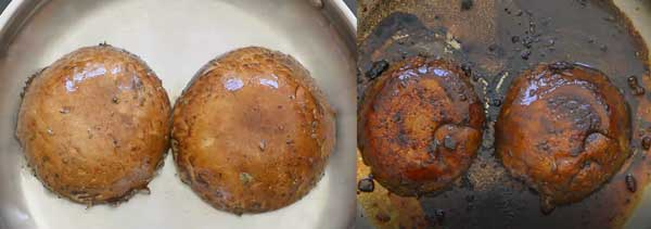 cooking mushroom burgers in the skillet