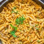 This Mushroom and Pumpkin Pasta is so flavorful, filling and delicious! It makes a great vegetarian dinner for the whole family!