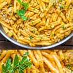 This Mushroom and Pumpkin Pasta is so flavorful, filling and delicious! It makes a great vegetarian dinner for the whole family!#pumpkin #pasta #mushrooms #dinner #onepot