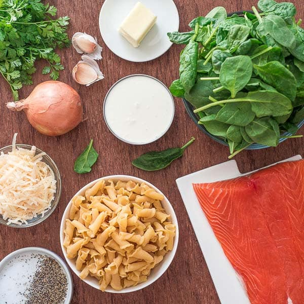 ingredients for Salmon Pasta with Spinach