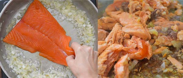 cooking salmon for salmon pasta