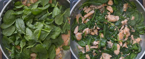 cooking spinach for Salmon Pasta
