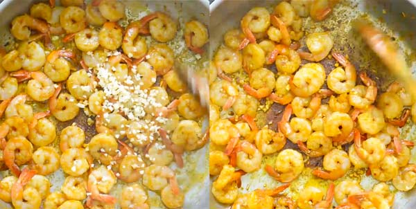 adding garlic to the shrimps