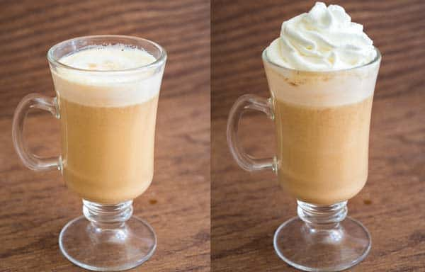 adding milk to pumpkin spice latte
