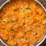 This Shrimp in Roasted Pepper Sauce is lip smacking good! Sweet roasted bell pepper paired with cream and Parmesan cheese create a very unique and delicious sauce.