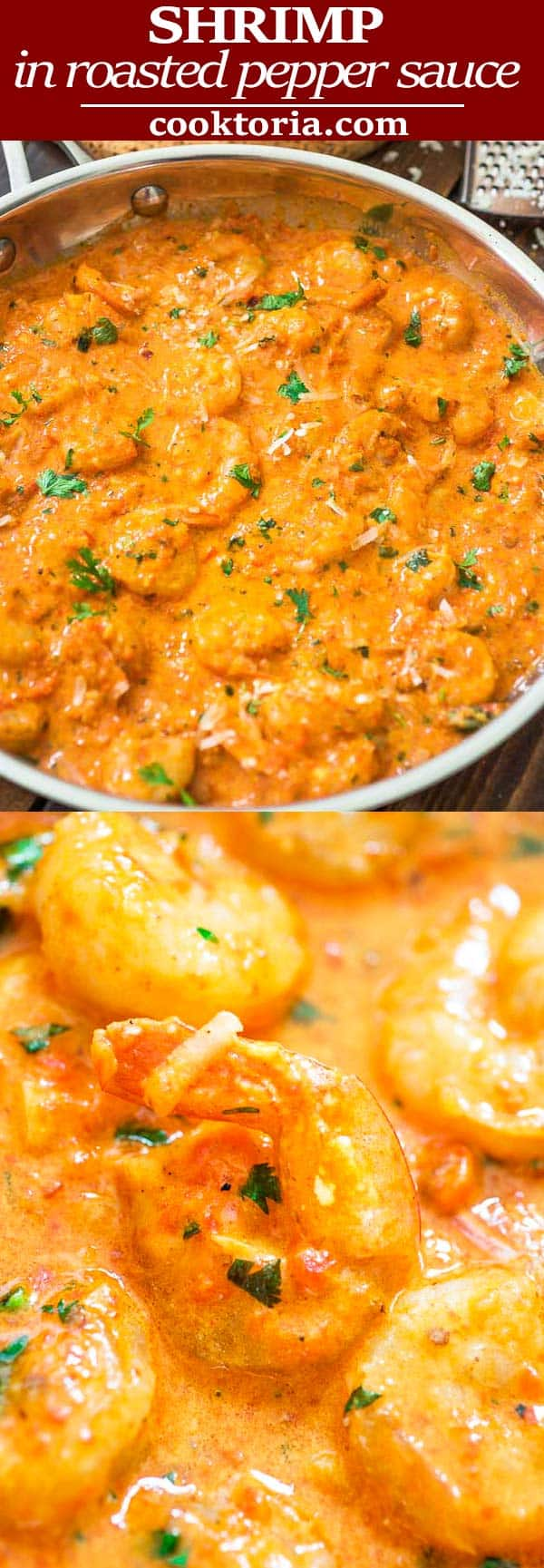 This Shrimp in Roasted Pepper Sauce is lip-smacking good! Roasted bell pepper paired with cream and Parmesan cheese create a very unique and delicious sauce.#shrimp #seafood #dinner