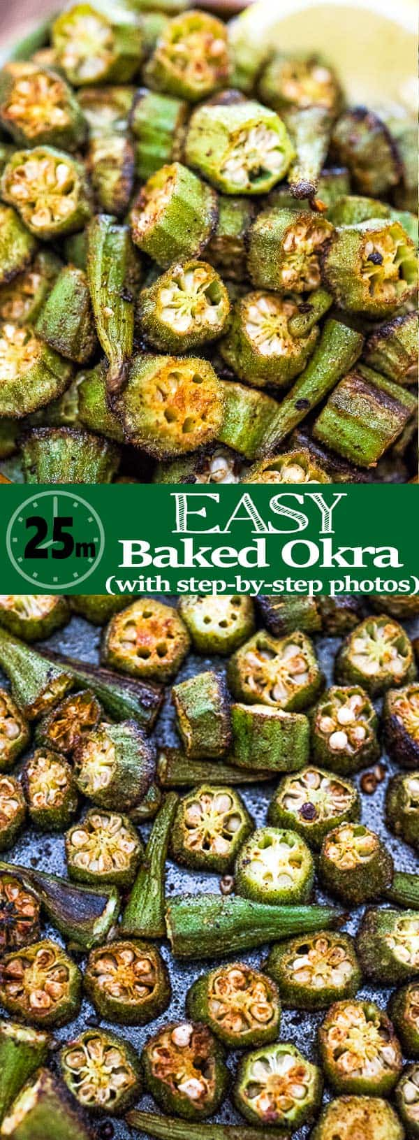 This is a simple, flavorful, and easy Baked Okra recipe. Seasoned with paprika, salt, and a pinch of cayenne, this okra makes a great snack or side dish.❤ COOKTORIA.COM #okra #vegetarian #snack #appetizer