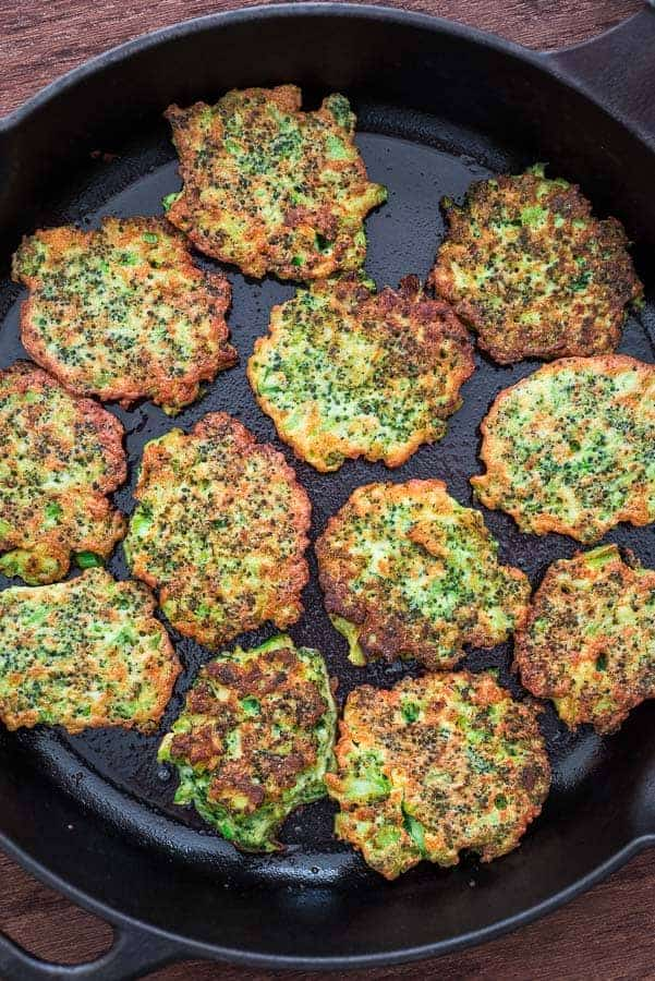 These light, golden-brown Broccoli Fritters make a delicious vegetarian dinner or lunch — and kids love them, too! Ready in less than 30 minutes. ❤ COOKTORIA.COM