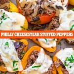 These Philly Cheesesteak Stuffed Peppers are cute, filling, and delicious! Colorful bell peppers stuffed with tender beef steak, sweet onions, mushrooms and rice.#beef #cheesesteak #steak #dinner