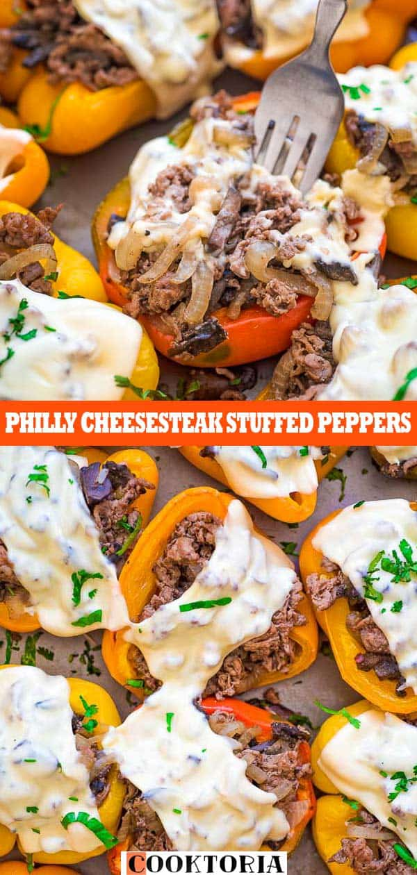 These Philly Cheesesteak Stuffed Peppers are cute, filling, and delicious! Colorful bell peppers stuffed with tender beef steak, sweet onions, mushrooms and rice. #beef #cheesesteak #steak #dinner