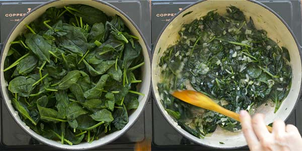 cooking the spinach for spanakorizo