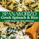 This simple, delicious, and authentic Spanakorizo (Greek Spinach Rice) makes a filling vegetarian meal or a side dish. Fresh dill, chives, and lemon juice give it an extraordinary flavor and aroma.❤ COOKTORIA.COM #dinner #recipe #greek #rice #spinach #side