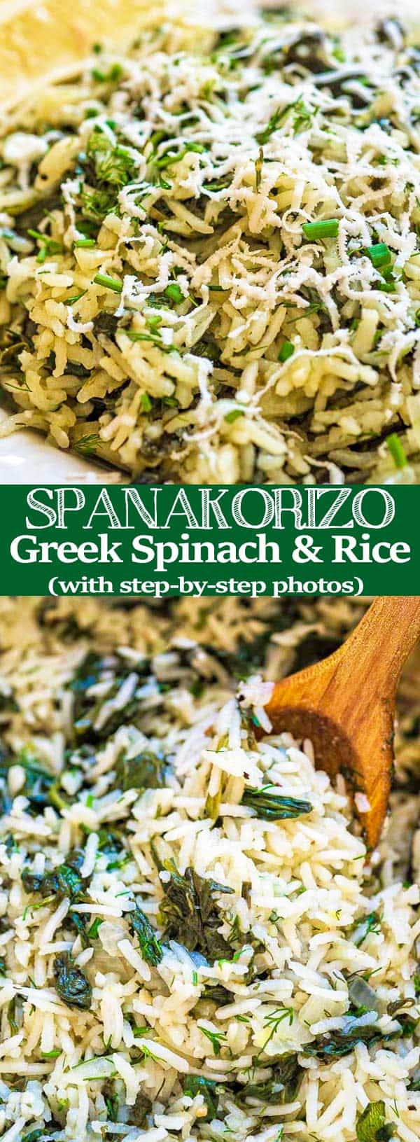 This simple, delicious, and authentic Spanakorizo (Greek Spinach Rice) makes a filling vegetarian meal or a side dish. Fresh dill, chives, and lemon juice give it an extraordinary flavor and aroma. ❤ COOKTORIA.COM #dinner #recipe #greek #rice #spinach #side