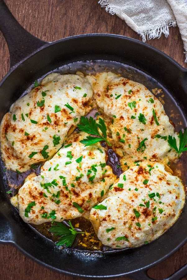 This easy, one-pan Three-Cheese Chicken recipe requires just a few ingredients and almost no clean-up.  Make this perfect weeknight dinner in just 25 minutes!