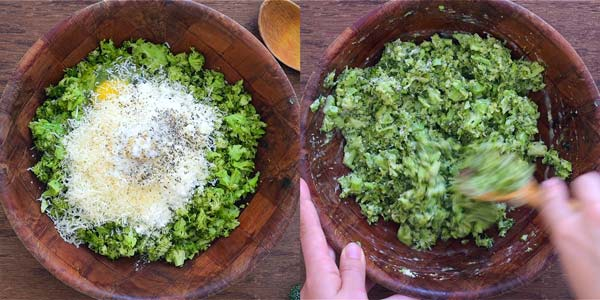preparing the mixture for broccoli fritters