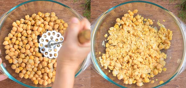 smashing chickpeas with potato masher