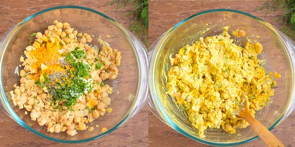 adding ingredients to chickpea salad