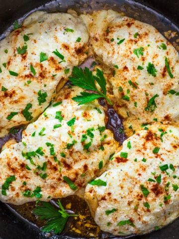 This easy one-pan Three-Cheese Chicken recipe requires just a few ingredients and almost no clean-up. Make this perfect weeknight dinner in just 25 minutes!