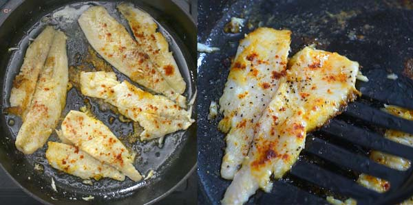 frying flounder in a skillet
