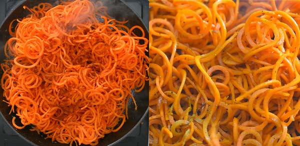 cooking spiralized carrots