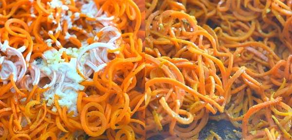 cooking carrot noodles