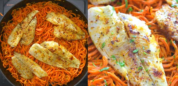 adding flounder to carrot noodles