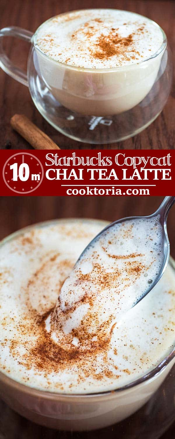 Follow my step-by-step instructions and make a classic Starbucks Chai Tea Latte at home! This drink is easy to make, tasty, and it will keep you warm during the cold season.   ❤ COOKTORIA.COM #chai #tea #latte #copycat #starbucks