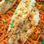 This tasty pan-seared Flounder with Carrot Noodles is a simple and filling meal. It makes a perfect lunch or dinner, and you won't believe how delicious those carrot noodles are!