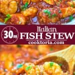 Salmon fillets and shrimp cooked in a tomato sauce with onions, garlic, and fresh herbs. This Italian Fish Stew makes an easy and scrumptious dinner, and comes together in less than 30 minutes.❤ COOKTORIA.COM #fish #seafood #salmon #shrimp #Italian