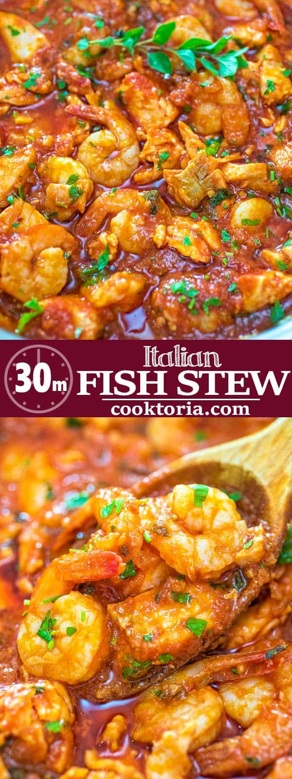 Salmon fillets and shrimp cooked in a tomato sauce with onions, garlic, and fresh herbs. This Italian Fish Stew makes an easy and scrumptious dinner, and comes together in less than 30 minutes.  ❤ COOKTORIA.COM #fish #seafood #salmon #shrimp #Italian