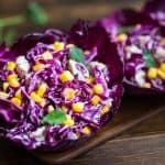 Refreshing and bright, this Red Cabbage and Corn Salad makes a perfect lunch or side dish. It comes together in minutes and is full of flavor! Refreshing and bright, this Red Cabbage and Corn Salad makes a perfect lunch or side dish. It comes together in minutes and is full of flavor! ❤ COOKTORIA.COM