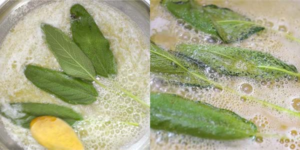 cooking sage leaves in butter