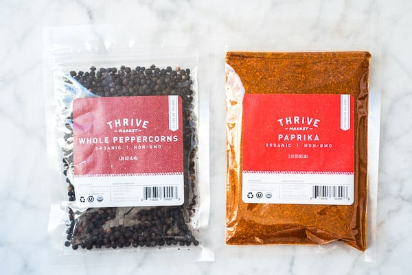 black peppercorns and paprika