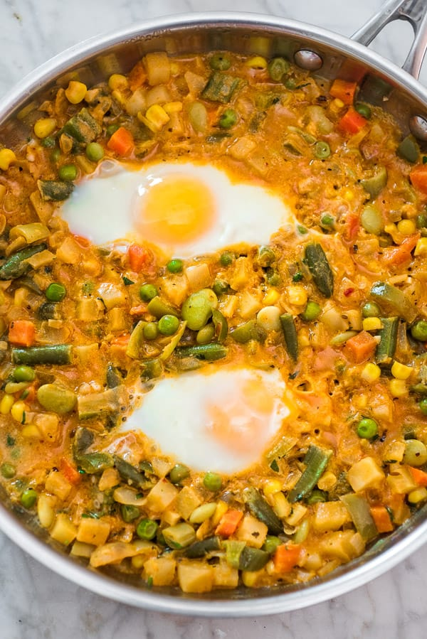 Ultimate Vegetable Stew cooked with eggs as breakfast meal