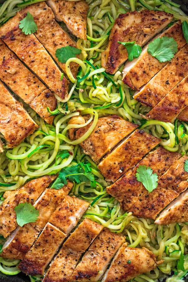 This incredibly delicious Quick & Easy Chicken and Zoodles makes a light, yet filling, dinner. Tender, paprika-seasoned chicken breast pairs so well with succulent, garlic-infused zucchini noodles.