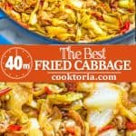 This Fried Cabbage recipe is insanely good! Made with bacon, onion, bell pepper, and a touch of hot sauce, it is easy to make, simple, and comes out perfect every time! ❤ COOKTORIA.COM #cabbage #bacon #fall #onepot #dinner
