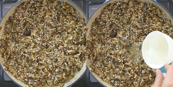 adding arborio rice and broth to risotto