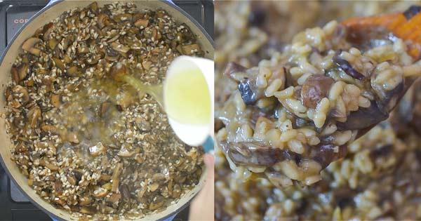 Adding broth and stirring the rice