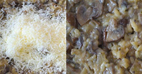 adding Parmesan cheese into the risotto