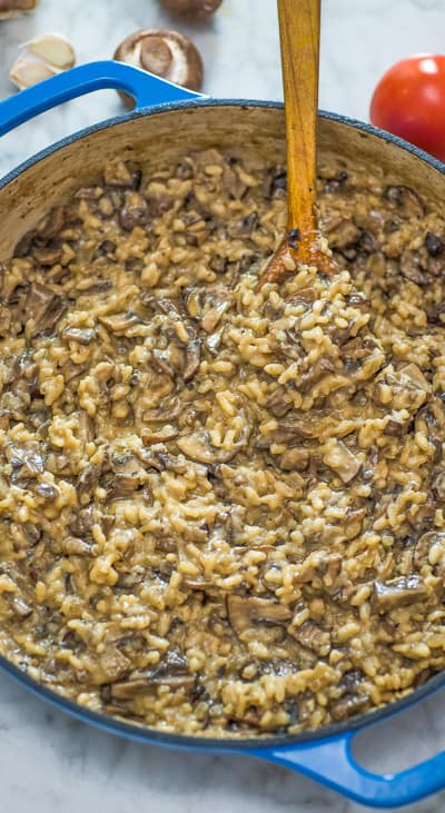 If you are looking for a staple Mushroom Risotto recipe, you've come to the right place! This is hands-down THE BEST Mushroom Risotto you'll ever try! ❤ COOKTORIA.COM #mushroom #risotto #dinner #vegetarian