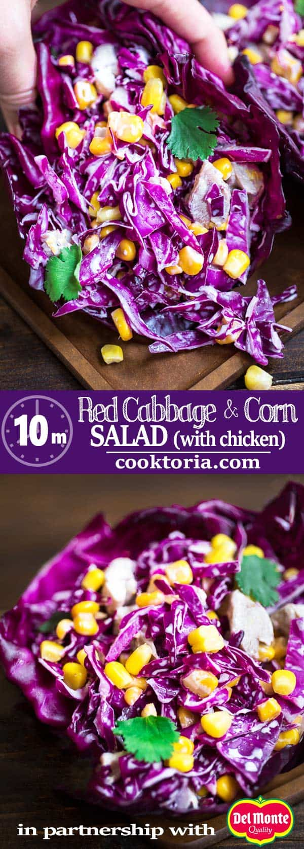 Refreshing and bright, this Red Cabbage and Corn Salad makes a perfect lunch or side dish. It comes together in minutes and is full of flavor! Refreshing and bright, this Red Cabbage and Corn Salad makes a perfect lunch or side dish. It comes together in minutes and is full of flavor! ❤ COOKTORIA.COM #cabbage #salad #chicken #lunch